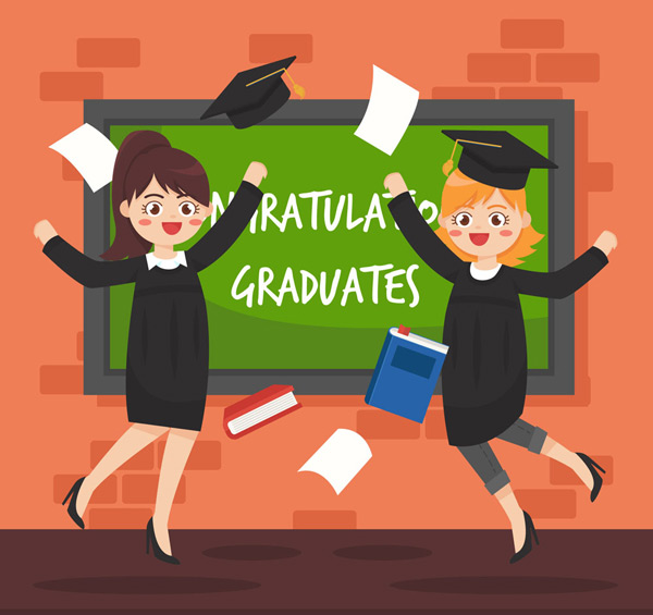 毕业生女孩和黑板