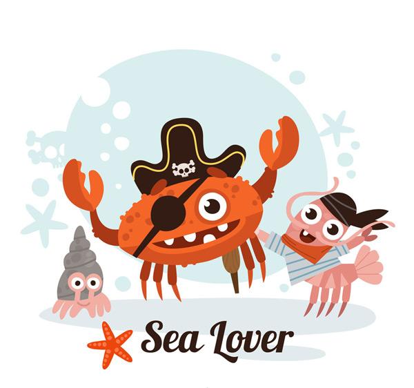 0 点 关键词: 3个卡通海盗装扮海洋动物矢量图,海螺,螃蟹,龙虾,虾
