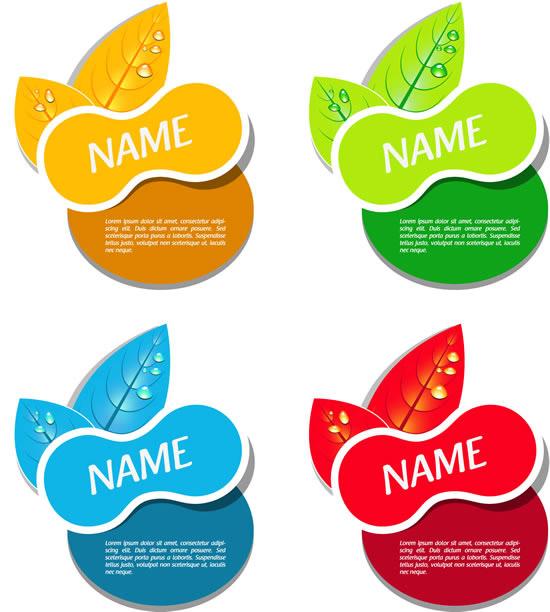 贴纸,水珠,叶子标贴图片素材,标签ai矢量素材免费下载 下载文件特别说