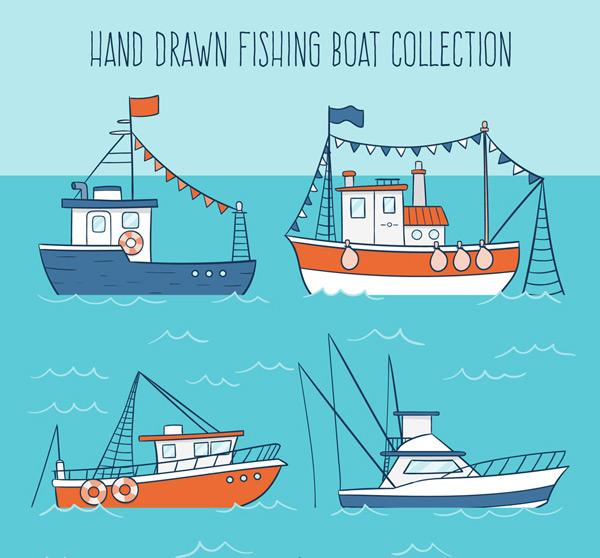 素材分类: 矢量交通所需点数: 0 点 关键词: 4款彩绘渔船设计矢量