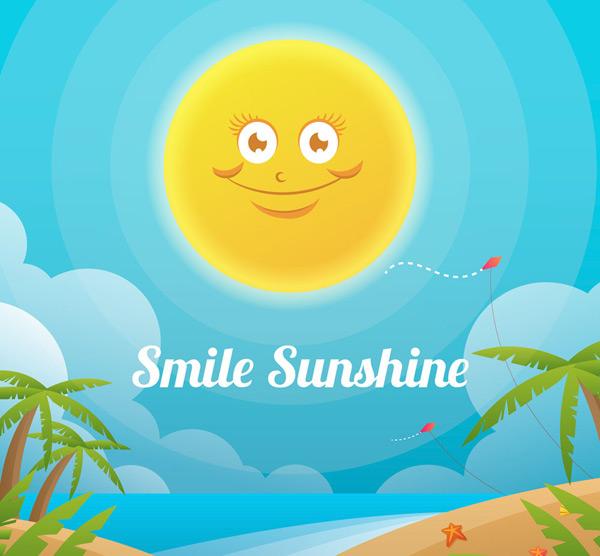 创意微笑太阳和沙滩矢量素材,海星,大海,岛屿,风筝,云朵,度假,微笑