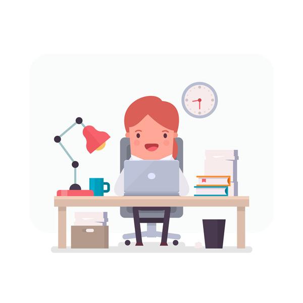 椅子,时钟,人物,工作,办公室,女子,笑脸,矢量图,eps格式 下载文件特别图片