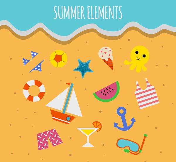 上的夏季元素矢量图,海星,冰淇淋,章鱼,西瓜,比基尼,帆船,游泳圈,球