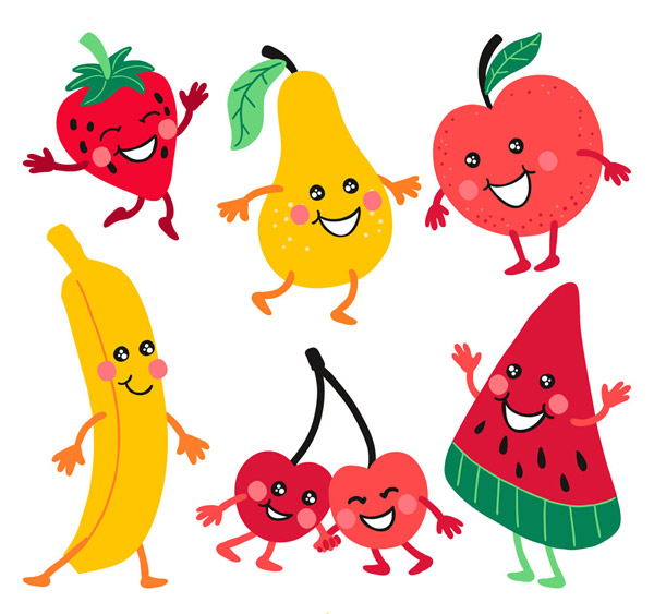关键词: 6款卡通笑脸水果矢量素材,草莓,梨,苹果,香蕉,樱桃,西瓜,笑脸