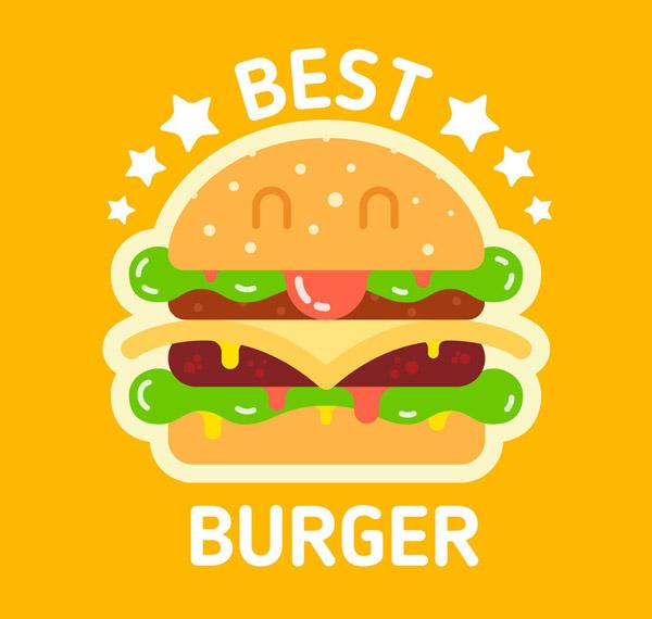 可爱表情汉堡包