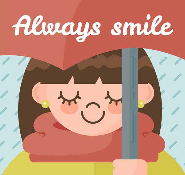 微笑女孩矢量图