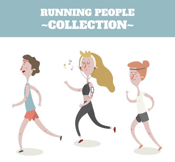 关键词: 3个卡通跑步的人物矢量素材,音符,男子,女子,跑步,健身,运动图片