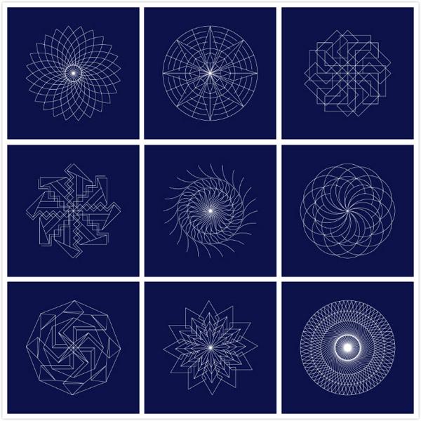 关键词: 炫酷几何线条组合图案矢量素材,艺术线条,防伪标签,几何图形图片