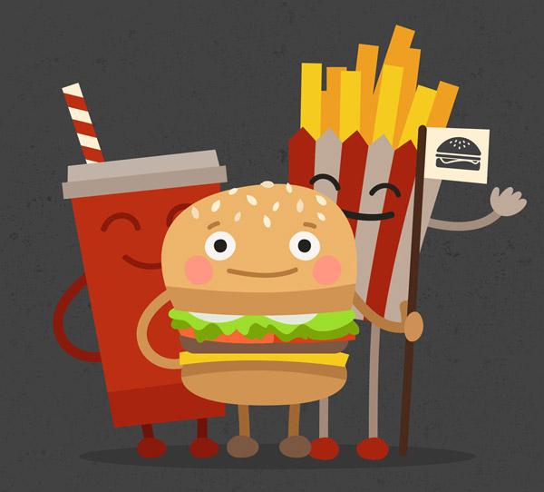 0 点 关键词: 可爱汉堡包套餐设计矢量素材,可乐,薯条,餐饮,汉堡包