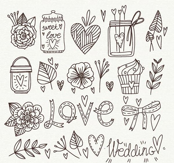 19款毕业婚礼蛋糕元素树叶,玫瑰花,花卉,瓶子,灯,爱心纸杯,矢量,展板包装设计手绘素材排版图片