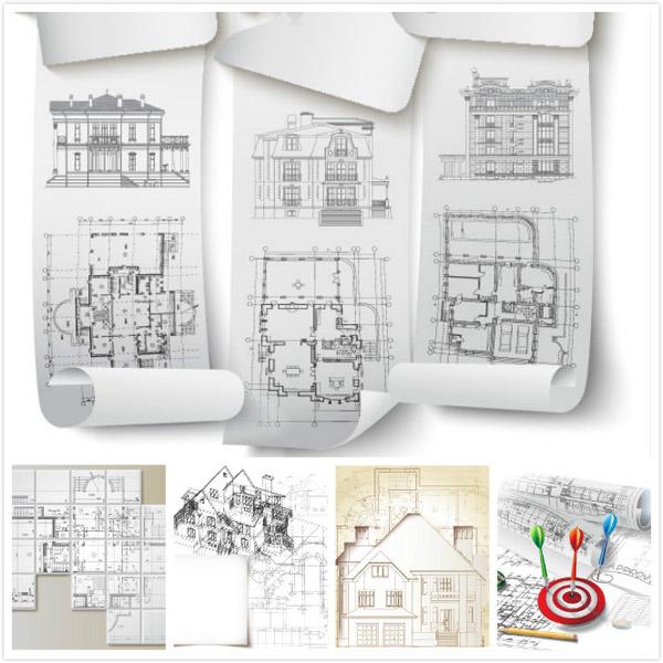 建筑模型,房子模型,手绘图纸,cad矢量图,房屋户型图,建筑透视图,eps