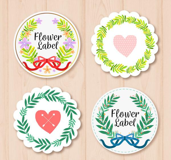 圆形花环标签