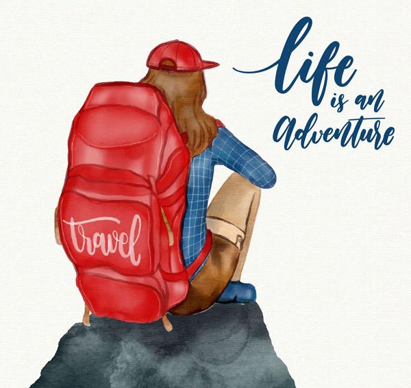 矢量生活人物所需点数: 0 点 关键词: 水彩绘背包客女子坐姿背影矢量