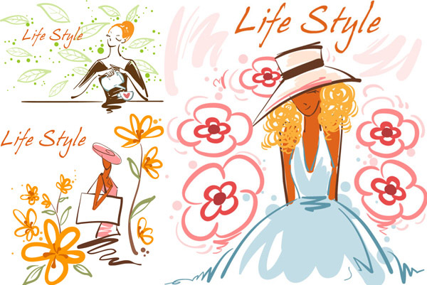 时尚手绘阳光女孩插画矢量素材,时尚,手绘,彩绘,阳光,女孩,清新,女子