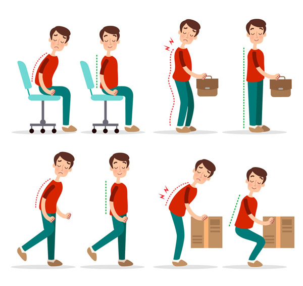 矢量生活人物所需点数: 0 点 关键词: 4组创意正确与错误站坐姿对比图片