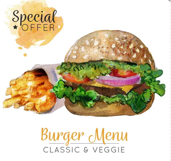 素材分类: 矢量美食所需点数: 0 点 关键词: 水彩绘薯条和汉堡包矢量