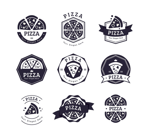 黑色披萨店标志