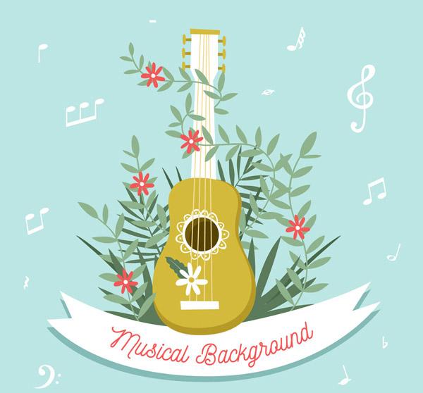 彩色吉他和花卉
