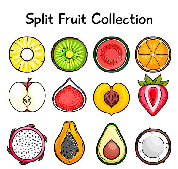 彩色水果切面