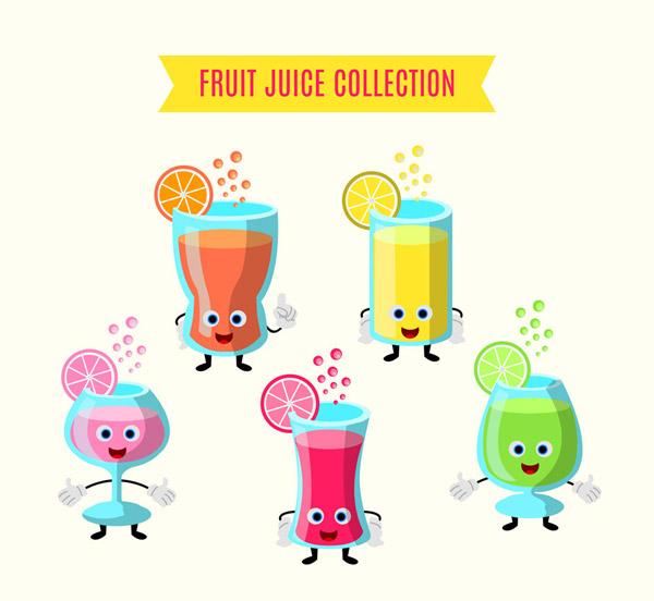 0 点 关键词: 5款可爱表情水果汁矢量素材,橙子,橙汁,柠檬,柠檬汁