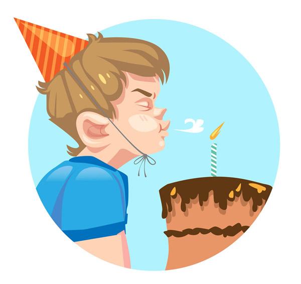 矢量生活人物所需点数: 0 点 关键词: 卡通吹蛋糕蜡烛男孩侧脸矢量