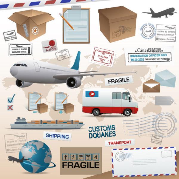 物流,元素,运输,飞机,汽车,轮船,箱子,纸箱,标签,标贴,信封,邮戳,地球