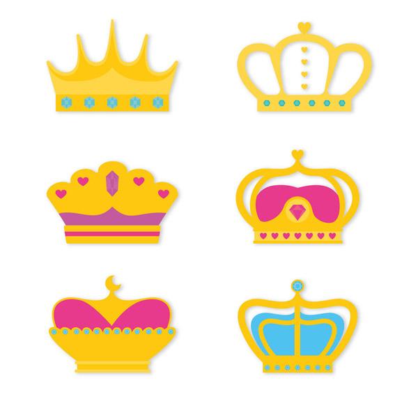 6款质感王冠设计矢量素材,宝石,权力,贵族,质感,王冠,配饰,矢量图,ai