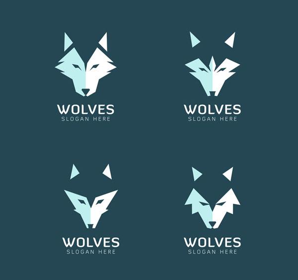 4款抽象狼头像标志矢量素材,商务,抽象,狼,头像,标志,动物,矢量图,ai