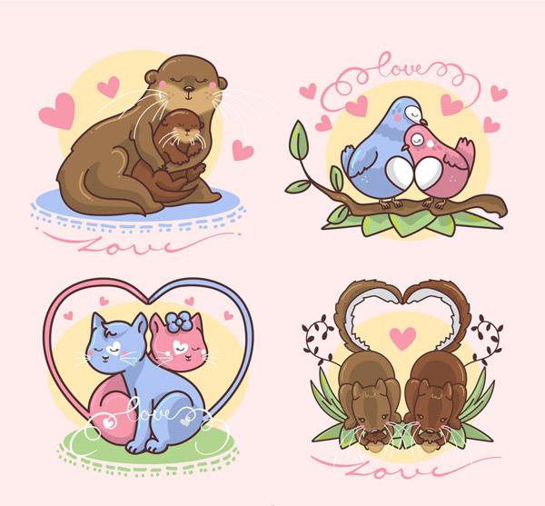 海獭,猫咪,鸟,树枝,爱心,树叶,松鼠,橡子,情侣,动物,矢量图,ai格式