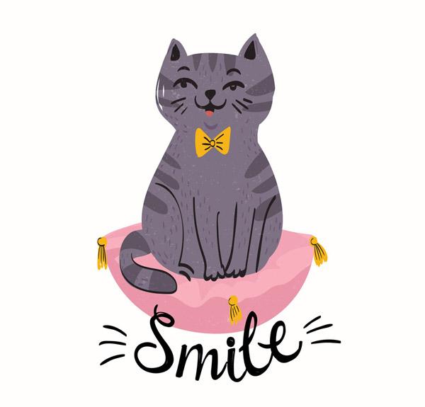 可爱笑脸猫咪设计矢量素材,smile,坐垫,领结,笑脸,猫,宠物,动物,矢量