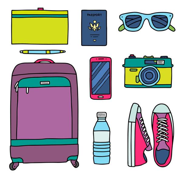 8款彩色旅行物品矢量素材,画夹,画笔,护照,太阳镜,手机,照相机,帆布鞋,水瓶,背包,旅行,物品,行李箱,矢量图,