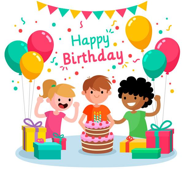 矢量生日所需点数: 0 点 关键词: 卡通生日派对上的3个儿童矢量素材