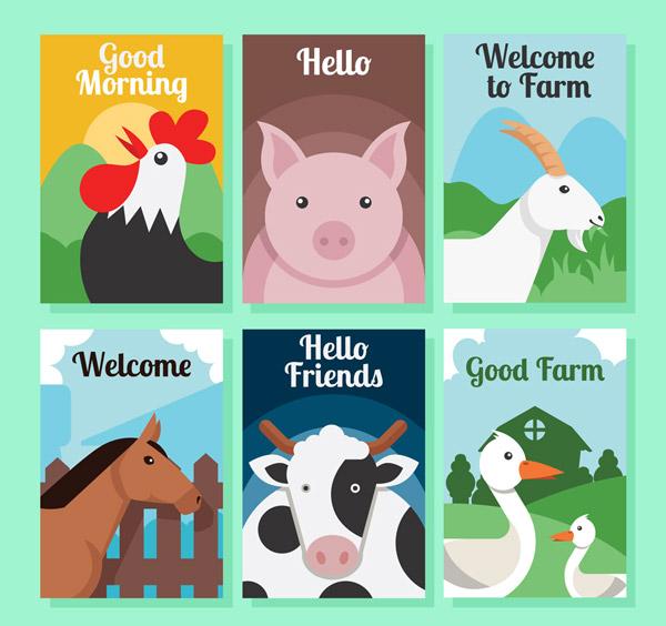 0 点 关键词: 6款创意农场动物卡片矢量素材,公鸡,猪,山羊,马,奶牛