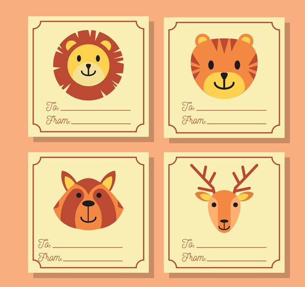 0 点 关键词: 4款创意动物留言卡片矢量素材,狮子,老虎,鹿,浣熊,动物