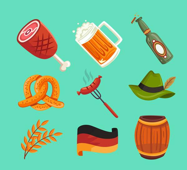 0 点 关键词: 9款彩色啤酒节图标矢量素材,蝴蝶脆饼,香肠,帽子,大麦