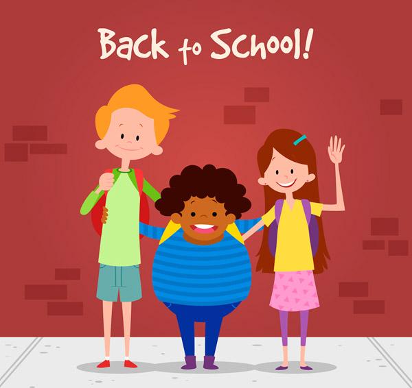 关键词: 卡通返校的3个人物矢量素材,校园,返校,男孩,女孩,开学,矢量