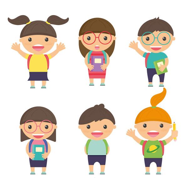 点 关键词: 6款卡通背书包的儿童矢量素材,男孩,女孩,人物,校园,书包