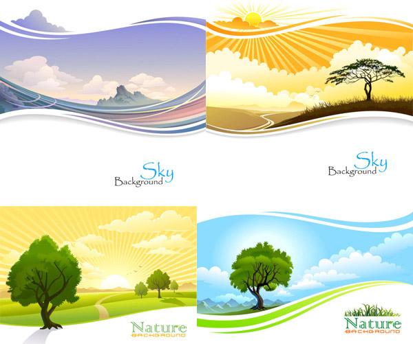 精美,风景,卡通,云层,田野,树,山岭,丘陵,放射线,麦田,太阳,矢量素材