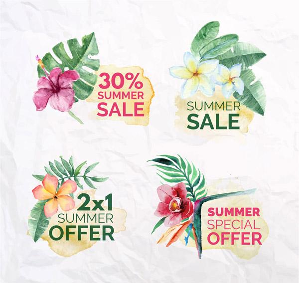 花卉夏季促销标签