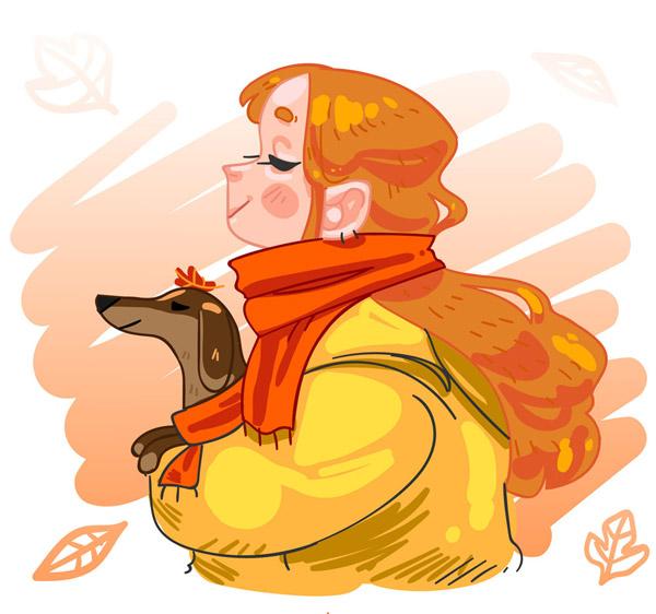 女孩和宠物狗侧影图片