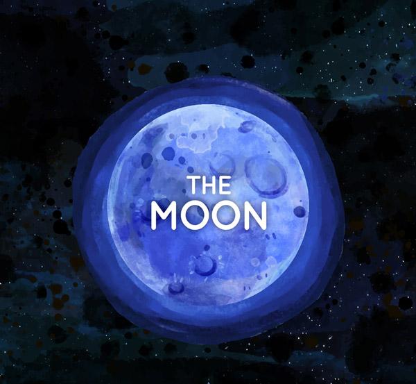 水彩绘蓝色月亮