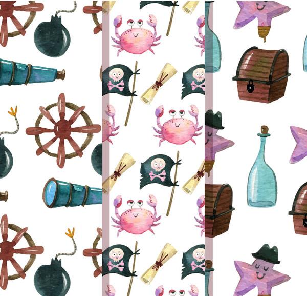 0 点 关键词: 3款可爱海盗元素无缝背景矢量图,船舵,海星,螃蟹,旗帜