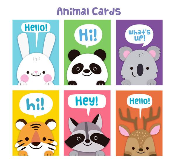 0 点 关键词: 6款可爱动物问候卡片矢量素材,兔子,熊猫,浣熊,老虎