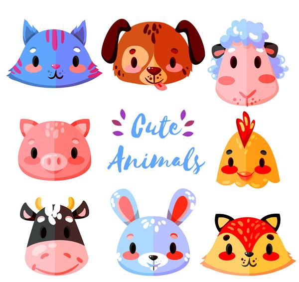 可爱卡通动物头像矢量素材,扁平化,猫,狗,绵羊,猪,鸡,奶牛,兔子,狐狸