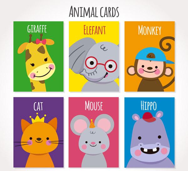 0 点 关键词: 6款可爱微笑动物卡片矢量素材,长颈鹿,大象,猴子,猫