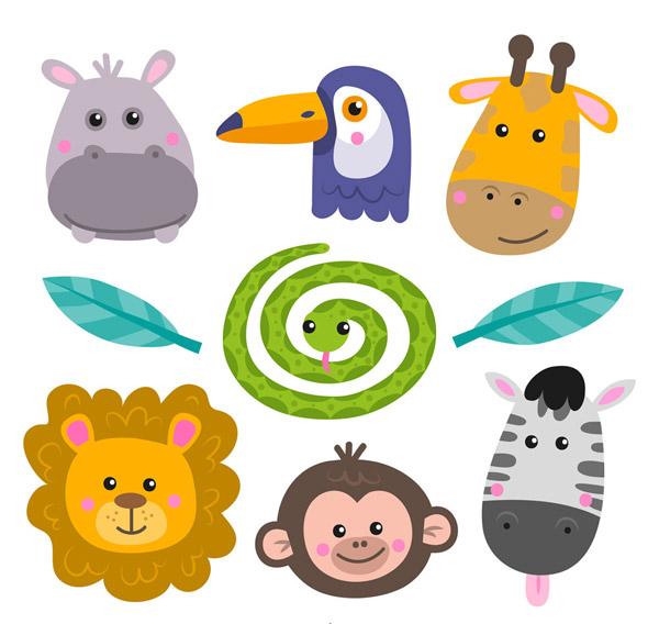 0 点 关键词: 7款可爱动物头像矢量素材,河马,长颈鹿,蛇,树叶,斑马