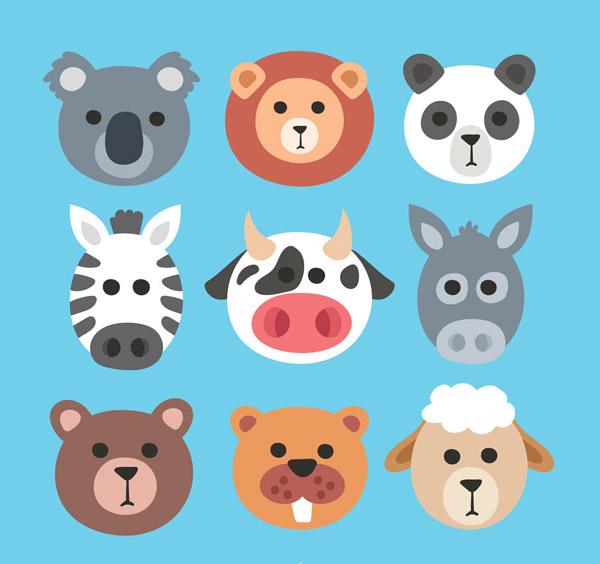 浣熊,狮子,熊猫,斑马,奶牛,驴子,熊,海獭,绵羊,动物,头像,矢量图,ai