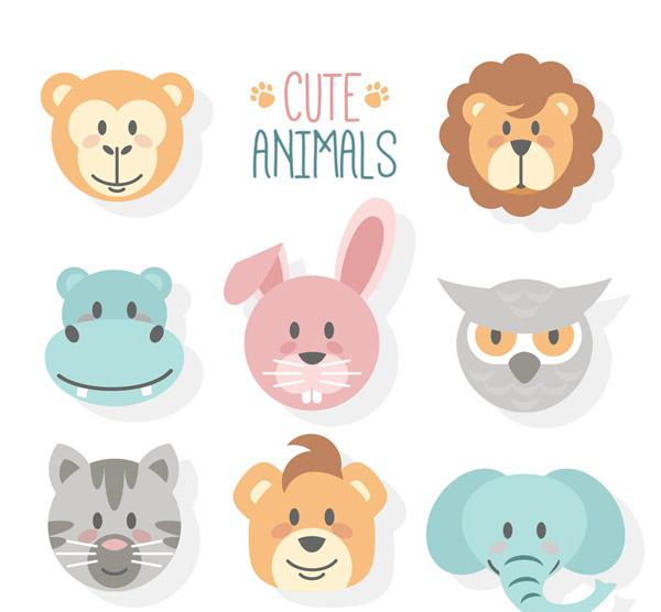 8款可爱动物头像设计矢量素材,猴子,狮子,河马,兔子,猫头鹰,猫,大象