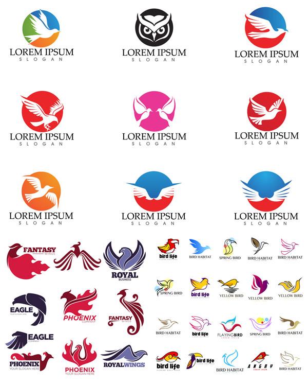 鸟形LOGO模板