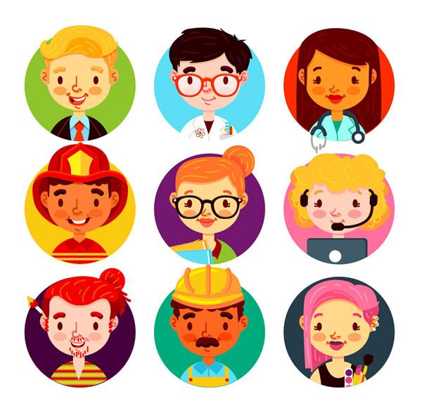 0 点 关键词: 9款卡通笑脸职业人物头像矢量图,医生,消防员,教师图片
